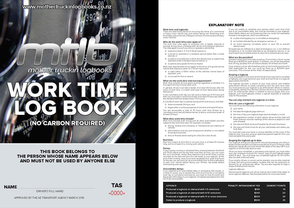 TAS A5 Worktime Logbook